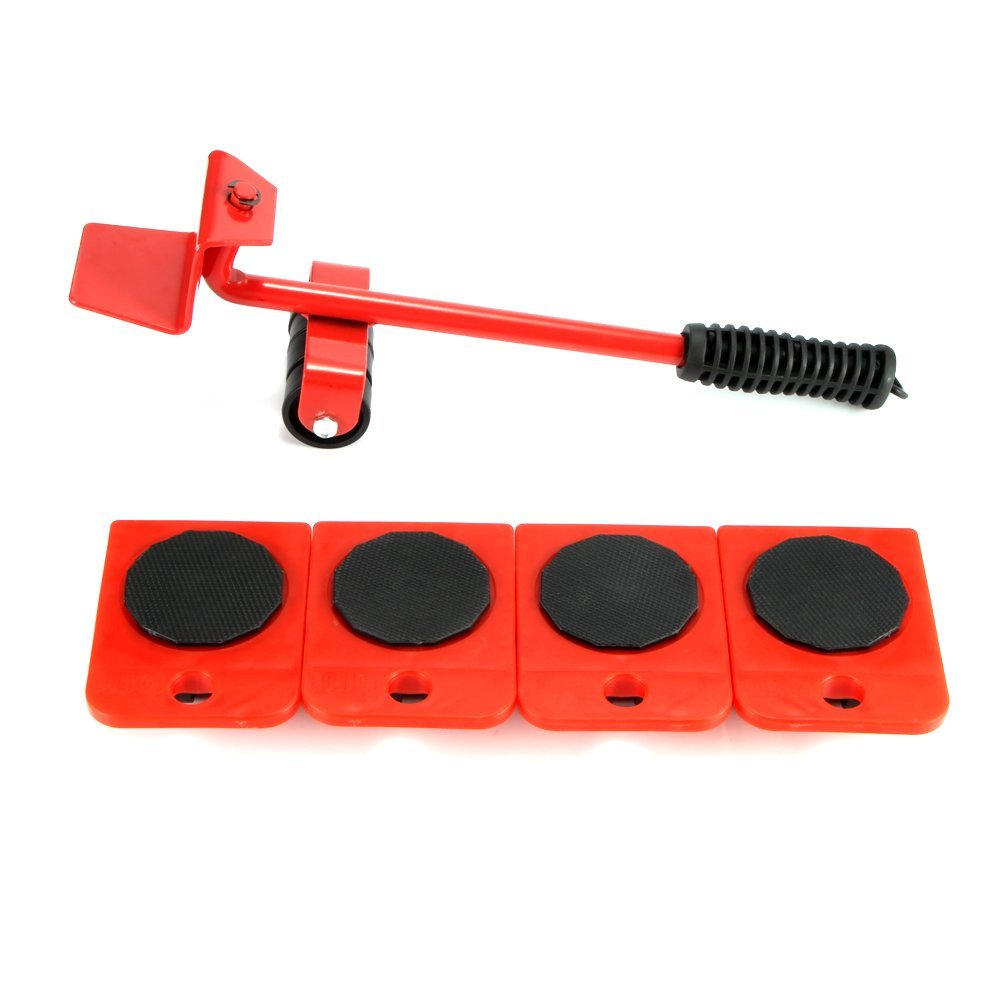 Houkiper Heavy Duty Furniture Mover Set, 5 PCS Furniture Slides Kit Labor-Saving Furniture Trolley Lifter Mover Furniture Roller Move Tools (Red)