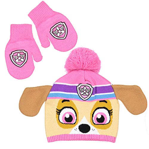 NICK JR Paw Patrol Girls Skye character Beanie Hat and Mitten Set - Toddler Size [4015]