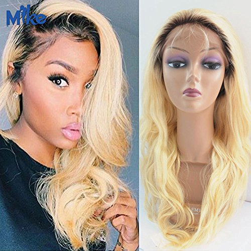MikeHAIR Ombre Color Human Hair Full Lace Wigs #2/613 2 Tones Ombre Brazilian Hair Body Wave Lace Wigs for Black Women (22 inch)