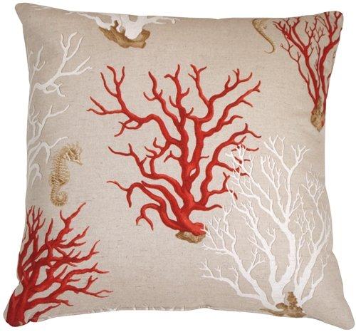 amazoncom pillow decor red coral 22x22 decorative pillow home kitchen - Coral Decorative Pillows