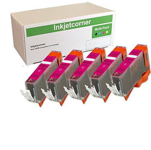 Inkjetcorner 5 Pack Magenta Compatible Ink Cartridge + chip Replacement for CLI-221 iP3600 iP4600 iP4700 MP560 MP620 MP640 MX860 MX870 MP980 MP990 CLI-221M