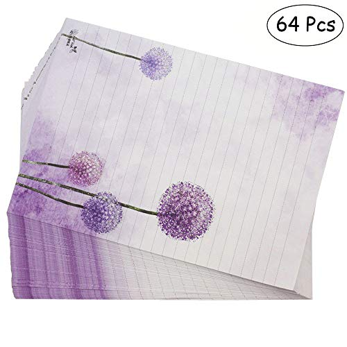 Bolbove 64 Pcs Lovely Plant Elegant Dandelion Letter Writing Stationery Paper Lined Sheets (White) ()