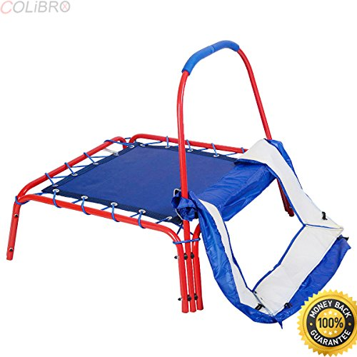 COLIBROX--Blue Square Jumping Trampoline 3' x 3' FT Kids w/ Handle Bar and Safety Pad.best outdoor jumping trampoline near me. best toddler jumping on trampoline for kids on amazon.