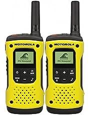 Motorola Mobility TLKR T92 H2O PMR radio (IP67, weerbestendig, bereik tot 10 km), 2 stuks, Zwart, geel, 17.8 x 3.8 x 6.2 cm