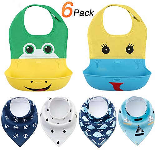 Baby Bibs Silicone Bibs for Boys & Toddlers (2 PCS)-Quick and Easy to Clean, Unisex Super Absorbent, Soft Baby Bandana Drool Bibs for Drooling and Teething (4 PCS)