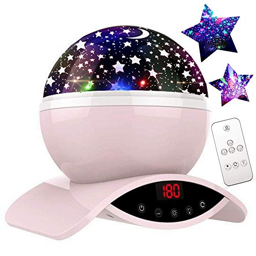 (YSD Night Lighting Lamp, Modern Star Rotating Sky Projection, Romantic Star Projector Lamp for Kids, USB Rechargeable & Remote Control, Best Gifts for Kids,Bedroom(Pink))