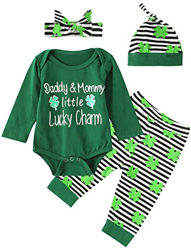 Mommys Little Girl Charm - 4Pcs Outfit Set Baby Boy Girls Daddy&Mommy Little Lucky Charm Tops and Pant (Green,6-12 Months)