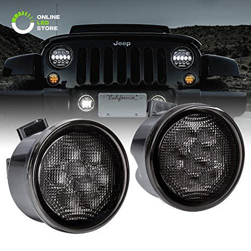 (Smoked Lens Amber LED Turn Signal Light [DRL Function] [8-LED] for 2007-2018 Jeep Wrangler JK & Unlimited - Pair)