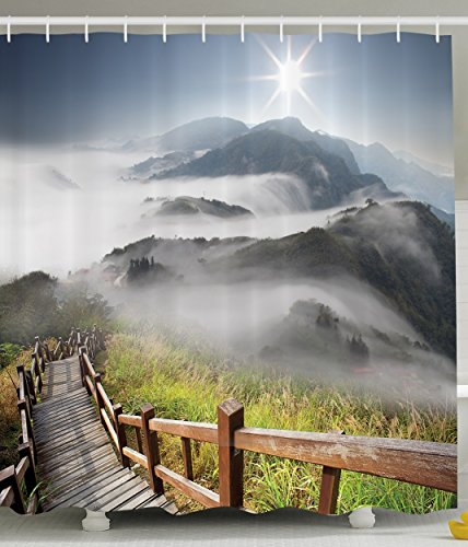 Photography Decor for Bathroom Accessories Enchanted Forest Shower Curtain with Weathered Wooden Bridge of Nature Pathway and Foggy