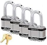 Master Lock Magnum Padlocks - 2'' W x 1-1/2''L Shackle, Four (4) Keyed Alike Locks #M5NKALFSTS-4 w/BumpStop Technology