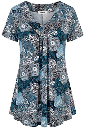 - Ninedaily Summer Tops for Women, Tunics 3/4 Roll up Sleeve Goft Mandarin Collar Patterned Floral Flowy Knitting Tunics with Skinny Jeans Comfy Flattering BlackBlue