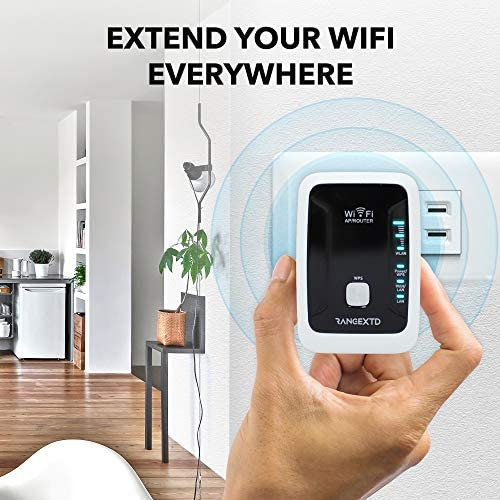 RANGEXTD WiFi Range Extender - WiFi Booster to Extend Range of WiFi Internet Connection | WiFi Signal Booster for Up to ten Devices | Internet Booster & WiFi Repeater | Speed 300 Mbps | 2.4 GHz Band