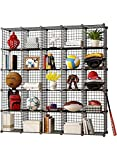 MAGINELS Wire Cube Storage Grid Shelves Unit Cabinet Panels Organizer Rack Bookcase for Toy Clothes Books Plants Black Metal Stainless 5 x 5