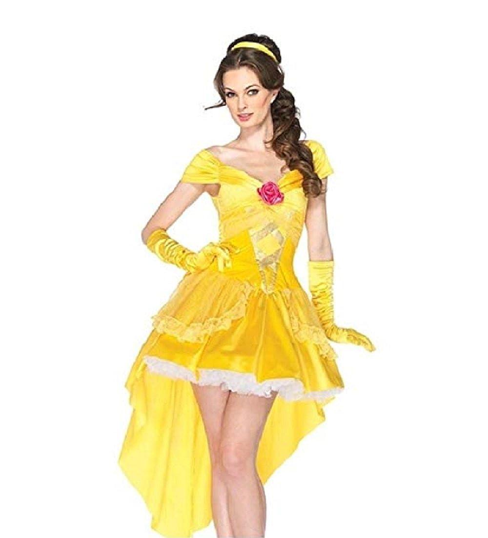 Amazon Com Peachi Adult Woman Princess Belle Beauty Yellow Dress
