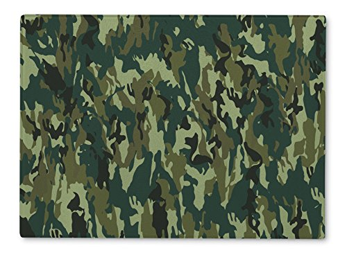 Gear New Glass Cutting Board and Serving Dish, Camouflage Pattern, also makes great accent decor piece, 11x8, 5225GN