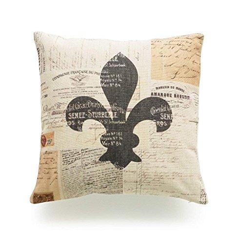 UTF4C Personalized Pillowcase 18 x 18 Inches Decorative Throw Pillow Cover Heavy Weight Cotton Linen French Country Vintage Fleur de Lis Ephemera (Chair Lis Fleur De Cushions)