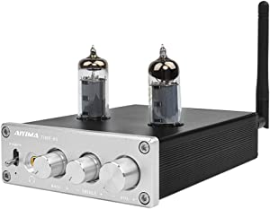 AIYIMA 6J4 Tube Amp Amplificador,Bluetooth 4.2 TPA3116D2 Power Digital Home Audio Amplifiers 50Wx2 HiFi Stereo Vacuum Tube Amplifier with Treble Bass Adjustment (6J4-Silver)