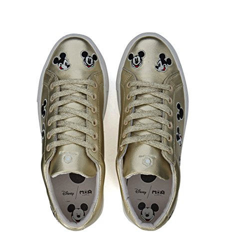 Moa Maitre Des Arts Femmes Moa Mickey Mouse Or Cuir Baskets Or