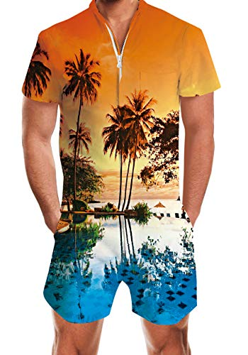 Guys Men Hawaii Beach Palm Tree Jumpsuit