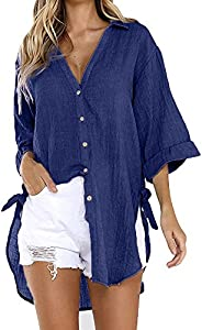 Eoailr Women Loose Button Long Sleeve 3/4 Sleeve Shirt Dress Cotton Linen Blouse Casual Solid Top Plus Size Pu