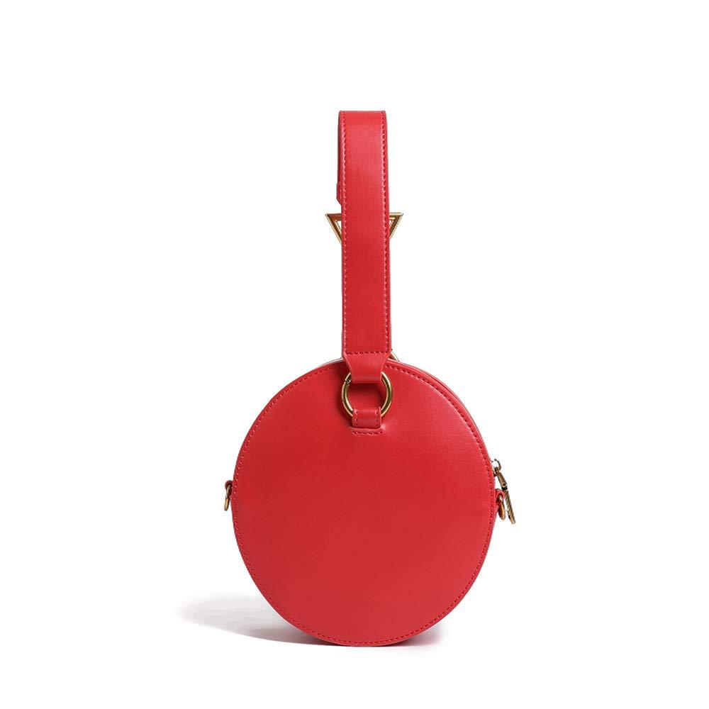 婦人用バッグ シンプルでスタイリッシュな女性のヴィンテージレザーハンドバッグ人格ポータブルラウンドシンプルクロスボディショルダーバッグストラップ付き幾何学的なハードウェア毎日の週末のバッグ (色 : 赤) B07RKWHXXF 赤