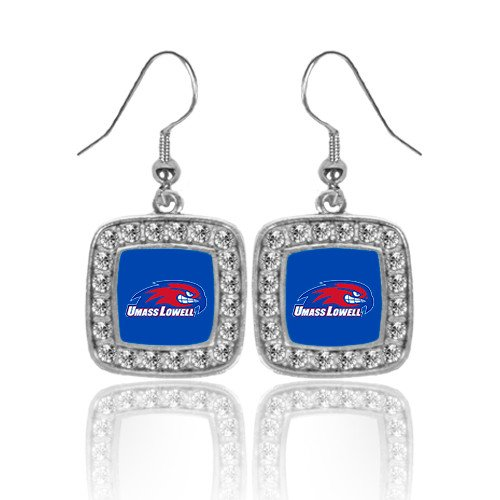 Logo Earrings Primary (UMass Lowell Crystal Studded Square Pendant Silver Dangle Earrings 'Primary Logo')