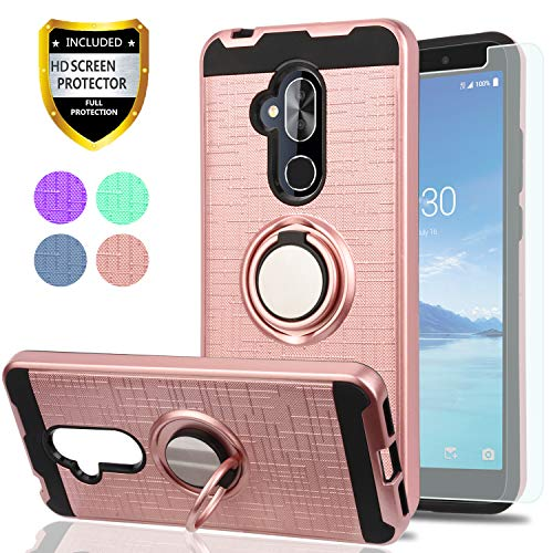 YmhxcY for Alcatel 7 Case, Revvl 2 Plus Case (T-Mobile), Alcatel 7 Folio Case with HD Screen Protector, 360 Degree Rotating Ring & Bracket Dual Layer Shock Bumper Cover Alcatel 7-ZH Rose Gold ()