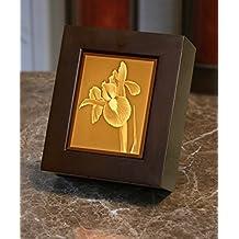 """ Iris "" - Lithophane Cherry Finished Shadow Box Lamp / Night Light"