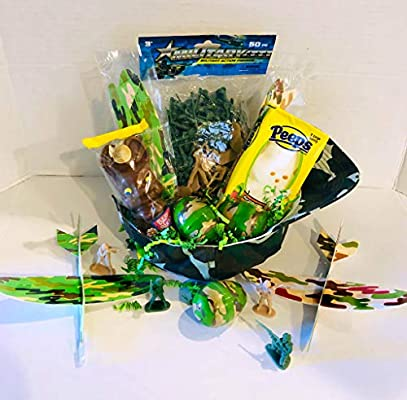 Mixed Kids Camo Easter Basket Bundle Camo Eggs Action Army Soldiers and Candy Includes Camo Hat