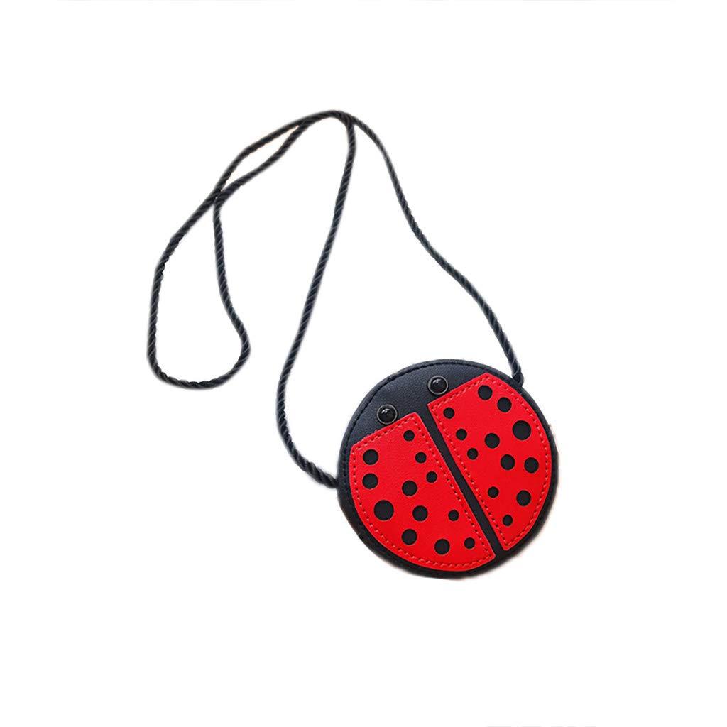 Shmei Fashion Girls Cartoon Animals Shoulder Bag Chain Diagonal Coin Crossbody Bag for Girls (Red)