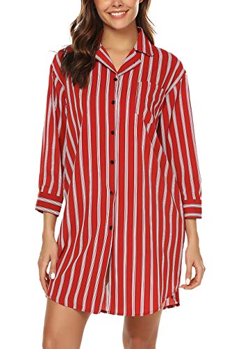 - URRU Sleepwear for Women's Casual V-Neck Button Down Nightshirt Soft Classic Nightgown Wine Red XL