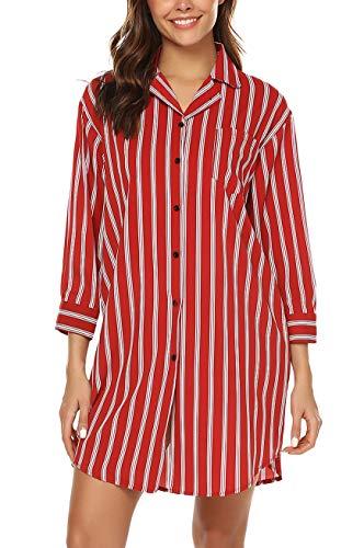 - URRU Sleepwear for Women's Casual V-Neck Button Down Nightshirt Soft Classic Nightgown Wine Red XL