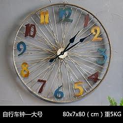 Y-Hui Iron Bicycle Wall Clock Home Living Room Decorations Sway-Bar Walls Clocks Wall, Large Color Wall Wheel, Wall Clock