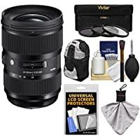 Sigma 24-35mm f/2 ART DG HSM Zoom Lens with Backpack + 3 Filters + Kit for Nikon D3300, D5300, D5500, D7100, D7200, D500, D610, D750, D810, D5 Camera