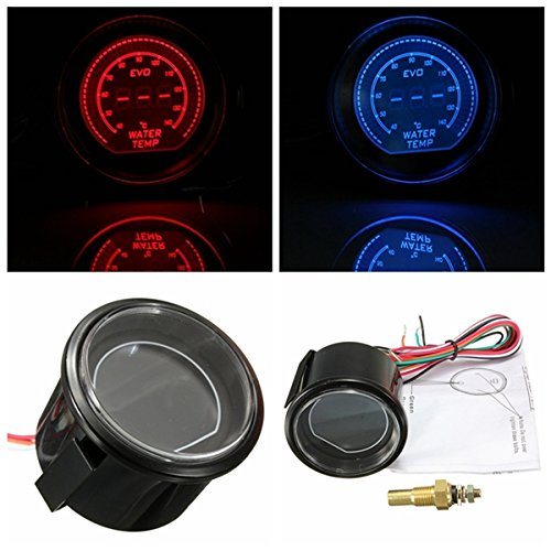 2 Inch 52mm Car LED Water Temperature Gauge 40-140 Celsius Red Blue Universal Gods Kingdom 7111267499537