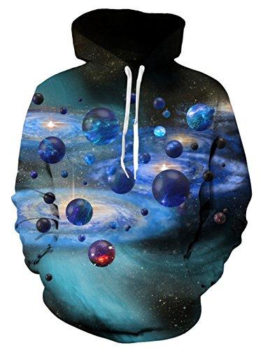 (Leappare Unisex Women & Men 3D Printed Universe Star Hooded Fleece Sweatshirt Casual Pullover Hoodie Size M)