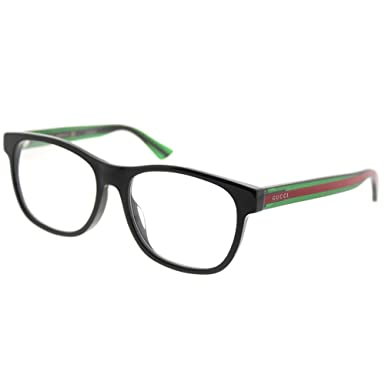 42a8df4bd2 Amazon.com  Gucci GG 0004OA 002 Asian Fit Black Plastic Square Eyeglasses  55mm  Clothing