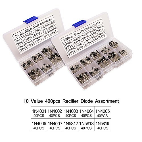 10 Value Rectifier Diode 2 Sets (400 Pieces) Axial Lead Rectifier Diode IN4001~1N4007, IN5817~IN5819 Assortment Kit with Clear Box by Kulannder (Image #1)
