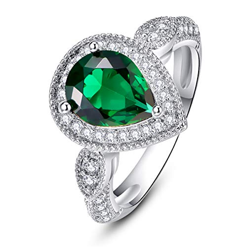 BONLAVIE 925 Sterling Silver Rings for Women May Birthstone Pear Cut Created Green Emerald White Cubic Zirconia CZ Size - Setting 6mm Emerald Cut Ring