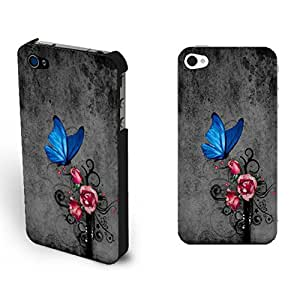 Classic Butterfly Flower Design Hard Protective Case Cover for Iphone 4 4s (black sg1148)