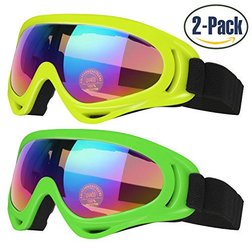 Ski Goggles, Pack of 2, Skate Glasses for Kids, Boys & Girls, Men & Women, Youth, with UV 400 Protection, Wind Resistance, Anti-Glare Lenses, made by COOLOO, Yellow / Green