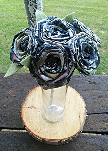 6 Camo Flower Single Stem Camouflage Wedding Rustic Country Centerpiece Fabric Keepsake Eco Friendly