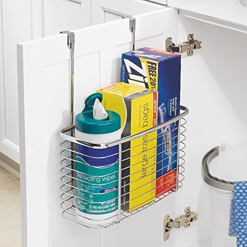 InterDesign Axis Over the Cabinet Kitchen Storage Organizer Basket for Aluminum Foil, Sandwich Bags, Cleaning Supplies - Large, Chrome by InterDesign (Image #4)