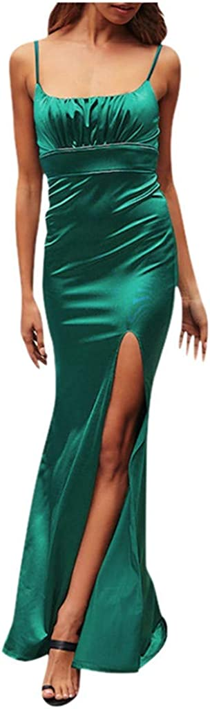 Reooly Vestido de Noche de Honda de Las señoras Vestido de Fiesta de Falda Dividida Vestido de Fiesta Adecuado para el Vestido de Color sólido de Las Mujeres Vestido de Novia Elegante