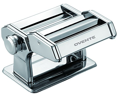 Ovente PA515S Maker, 7 Thickness Settings, Hand Crank, 150-mm Stainless Steel Pasta Cutter (Spaghetti & Fetuccine), Countertop Clamp, 150mm, Polished Chrome