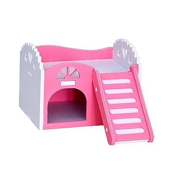 UEETEK Casas de madera para hámsters animales pequeños Casas para roedores (Rosa): Amazon.es: Productos para mascotas
