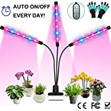Grow Light, 36W LED Grow Lamp for Indoor Plants, Auto ON/Off Timer, Full Spectrum Triple Head Gooseneck Plant Lights, 4/8/12H Timing 8 Dimmable Levels for House Garden Hydroponics Succulent Growing
