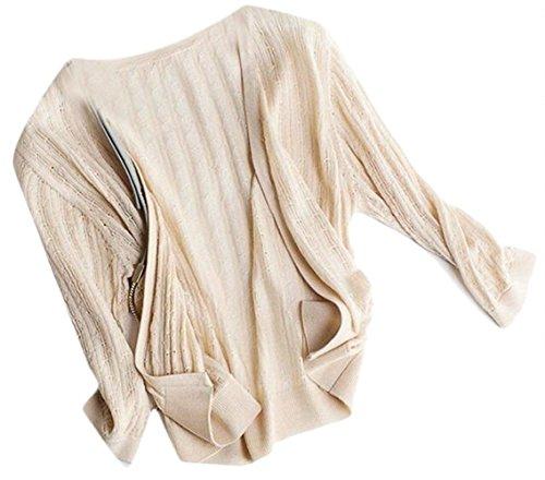 Beige Moda Sólidos Colores Chaquetas Battercake Cómodo Corto Manga Abrigo Casuales Cardigan Outerwear Elegantes Mujer Largo Abrigos Con Cremallera Mujeres wqRwUP