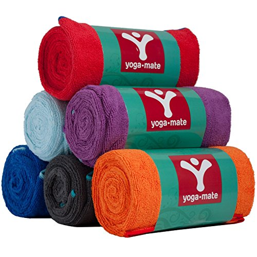 Yoga Mate Perfect Yoga Towel Super Soft, Sweat Absorbent, Non Slip Bikram Hot Yoga Towels | Perfect Size For Mat Ideal For Hot Yoga & Pilates!