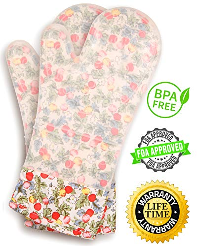 Gia'sWorld Extra Long Professional Silicone Oven Mitt - 1 Pair (Flowers)